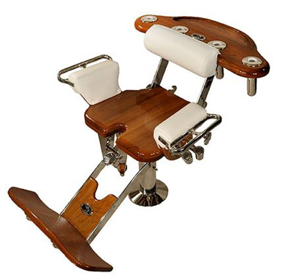 """Picture of Pompanette INT1010NOBACK Jumbo Marlin / Tuna with teak seatboard, no Backrest - 25"""" x 25"""""""