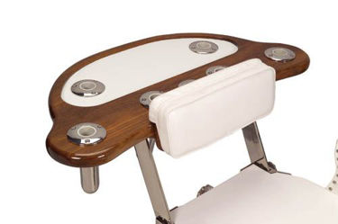 Picture of Pompanette INT6931A Teak Reverse Rocket Launcher, 6 Rod Holders, Tray and Drawer - Chair Mount
