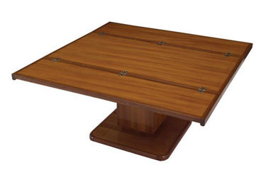 "Picture of Pompanette B136LUT Hi-Low 36"" Teak Table Oil Finish"