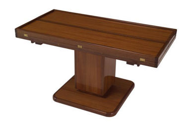 "Picture of Pompanette B120LUTS Hi-Low 40"" Teak Table Stain Finish"