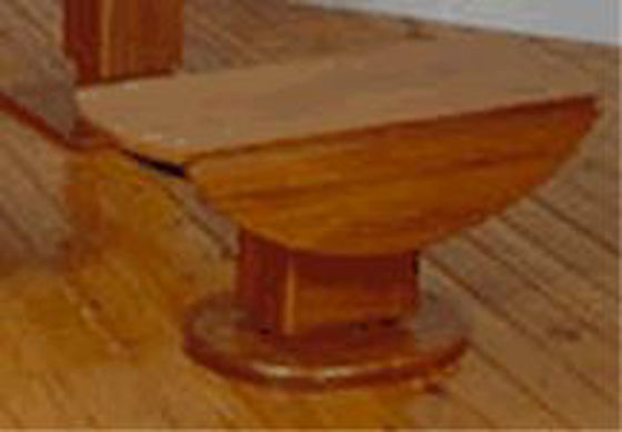 "Picture of Pompanette B140LDTS Hi-Low 40"" Teak Table Stain Finish leaves down - Teak Hi-Lo Table"